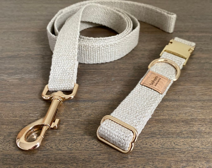 Organic European Hemp Dog Collar & Lead Set - Gold