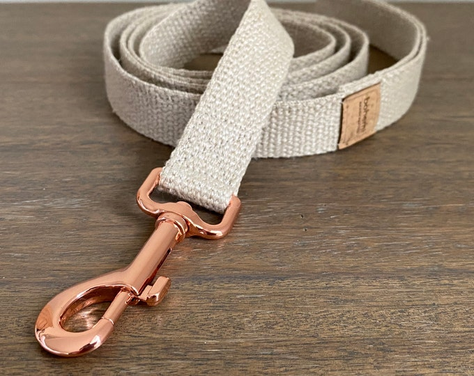 Organic European Hemp Clip Lead - Rose Gold