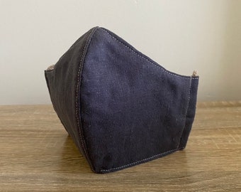 Charcoal - Hemp / Organic Cotton Face Mask - Four Layer - Adjustable Ties - Shapable Nose