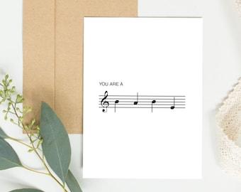 Musical Notes Card Funny Valentines Anniversary Birthday Cute Gift Ideas Boyfriend Galentine