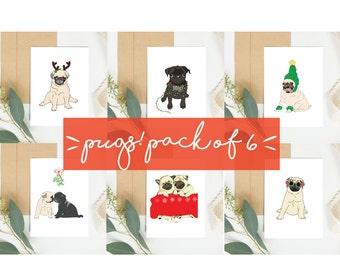 Pug Christmas Cards. Set of 6. Christmas Card pack of Christmas themed pugs. Pug gift ideas.