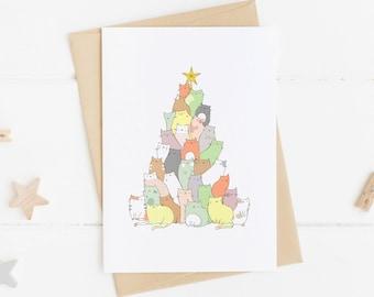 Christmas cards etsy au cat christmas card funny christmas card christmas tree christmas card pack christmas card set handmade cat gift ideas cat lover gift m4hsunfo