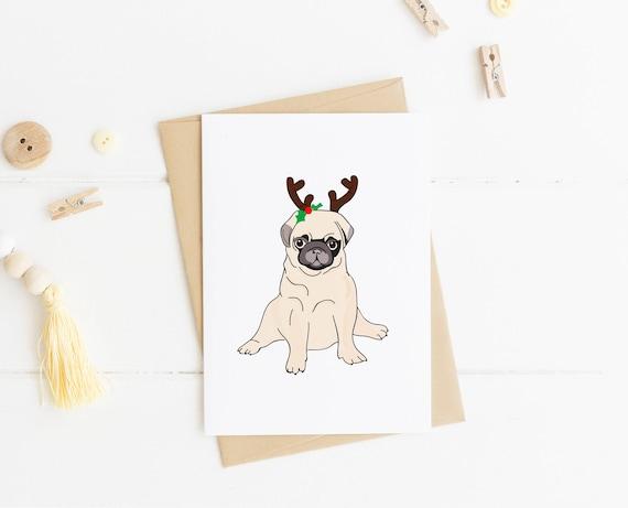 reindeer pug christmas card funny christmas card pug gift etsy reindeer pug christmas card funny christmas card pug gift pug print holiday card reindeer costume dog lover dog gift ideas
