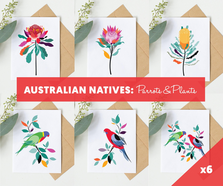 Parrots & Plants Christmas Cards Australian Natives Parrot | Etsy