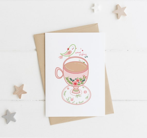 Coffee Christmas Cards.Warm Wishes Christmas Card Christmas Tea Cup Greeting Card Tea Cup Illustration Coffee Gift Idea Holiday Card Xmas Cards Handmade