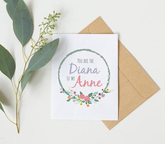 Anne Of Green Gables Card Best Friend Birthday Card Friendship Card Best Friend Birthday Best Friend Gift Ideas Bridesmaid Card