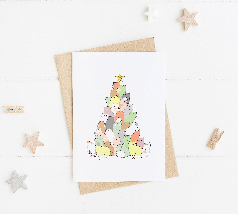 Cat Christmas Card Funny Christmas Card Christmas Tree | Etsy