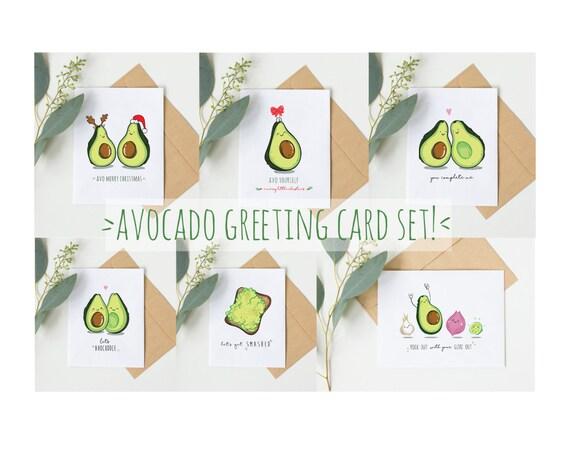 Avocado Greeting Card Set Set Of 6 Funny Birthday Card Etsy