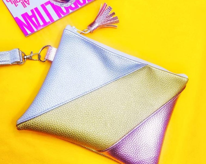Silver, Gold and Rose Gold mini clutch