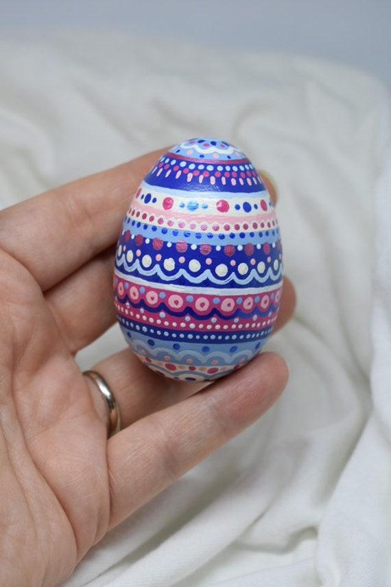 """Easter Egg  Pink Ornament Set 12 Decorated Flower Stripe Dot 2.5/"""" Decor"""