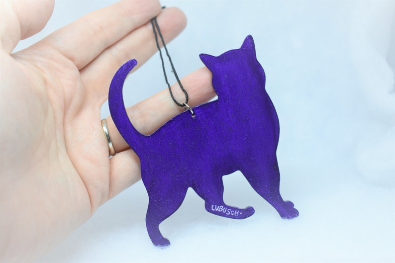 Cosmic Cat hanging wooden Cutout ornament
