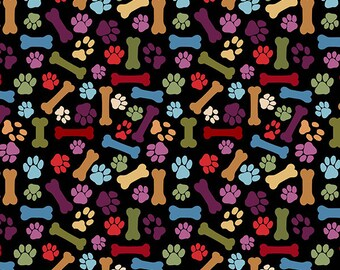 "Blank Quilting ""Paw Prints And Dog Bones Black' Fabric By The Yard; Faithful Friend By Danielle Murray; 8935-099"