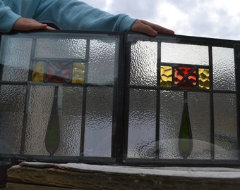 2 double glazed leaded light stained glass window units. R694j