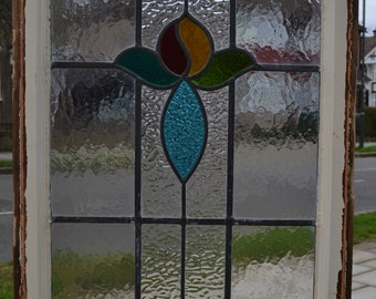 Framed leaded light stained glass window, ornament, wall art or suncatcher floral. A1222b