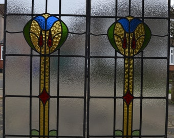 2 restored leaded light stained glass window panels, ornaments or suncatchers. A694a