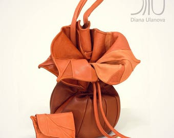 1bb30685f6 ORANGE seau sac | Sac seau à la main | Sac seau orange | Sac en cuir orange  | Seau à sacs | Sac orange | Seau à « Feedbag Orchid »