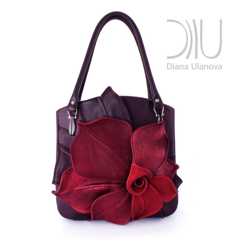 a54753b20 Leather Tote Bag Designer Tote Bag Burgundy Leather Tote   Etsy