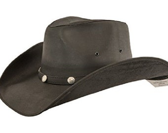 Lucky Trails Mens Dakota Black Shapeable Western Leather Handmade Cowboy Hat 9c936dc38829