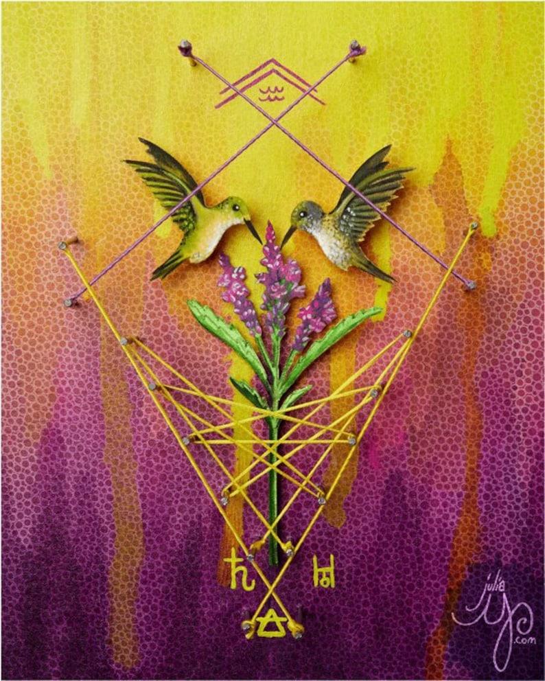 Aquarius/ Creativity/ Hummingbirds  Art Print or Postcard image 0