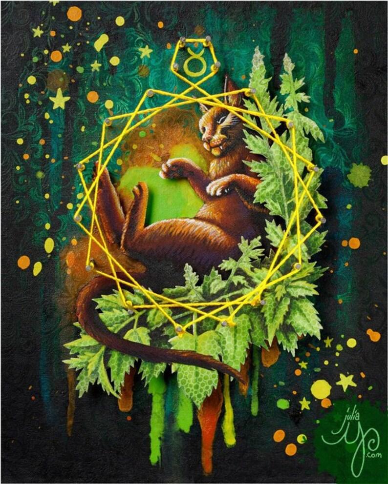 Taurus/ Bliss/ Cat Art Print or Postcard image 0