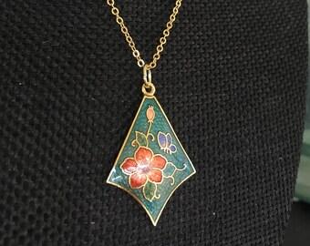 Turquoise Cloisonne pendant, cloisonne pendants, cloisonné pendant turquoise, vintage cloisonné necklace, Turquoise Cloisonne, N301