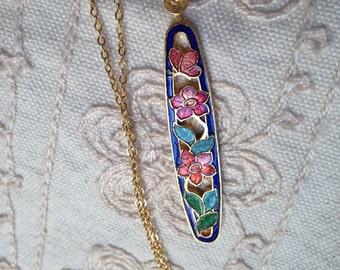 Cloisonne pendant, cloisonne pendants,  blue cloisonne pendant, cloisonné necklace, cloisonné pendants, vintage cloisonné jewelry, N111