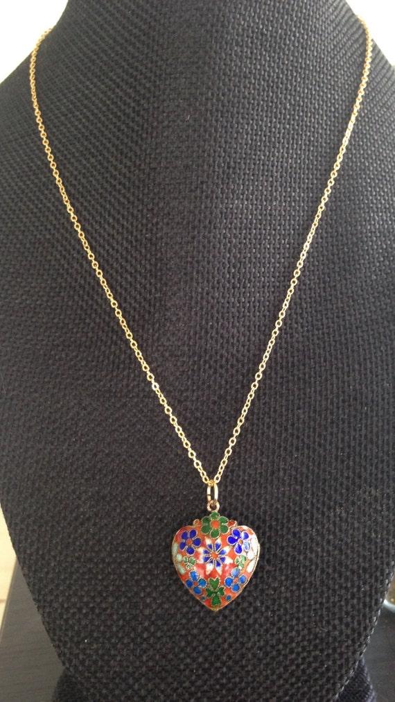 N12 cloisonne heart pendant Cloisonne pendant 1980s cloisonne cloisonne necklace Cloisonne pendant necklace vintage cloisonne pendant