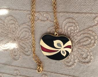 Cloisonne pendant necklace, vintage black cloisonne necklace, black cloisonné necklace, cloisonné pendants, vintage cloisonné jewelry, N323