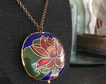 Long pendant necklace, cloisonne pendant necklace, cloisonne pendants,  cloisonné enamel pendant, long cloisonné pendant necklace,  N224