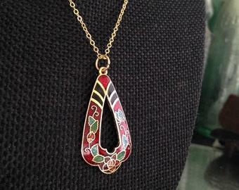 Cloisonne pendant necklace, red cloisonné necklace, cloisonné pendant, cloisonné pendants, vintage cloisonné jewelry, red cloisonne,  N51