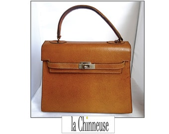 a169f07756a WAY brown leather KELLY bag / vintage brown leather bag / handbag /  Collectible / Made in France / True Vintage / Gift for her.