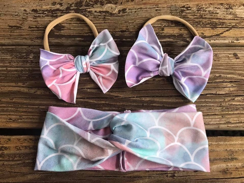 mermaid bow mommy and me head wraps Mermaid head wrap bows