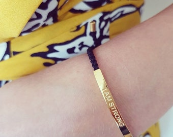 Be Strong and Courageous Bar Im A Fighter Affirmation Link Bracelet