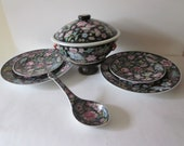 Chinese Porcelain Famille Rose Nori Millefleur, Tureen, Spoon, 2 Large Plates, 2 Small Plates Hand Painted Details, Chinese red Markings
