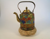 Rare Vintage Chinese Brass Teapot, Beautiful Hand Painted Enamel Chinese Antique Tea Kettle, Metal Asian Teapot, Kitchen Decor