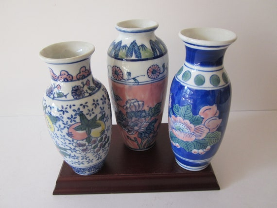 Chinese Floral Vases Hand Painted Colllection Of 3 Vase Etsy