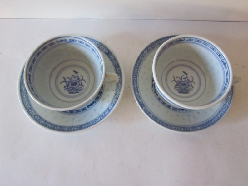 Chinese Porcelain Chrysanthemum Floral Rice Bowl Spoon Saucer Sets Jingdezhen