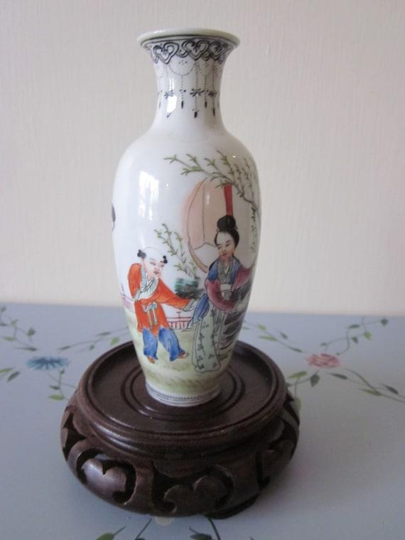 Chinese Geisha Vase Callingraphy Eggshell Hand Painted Etsy