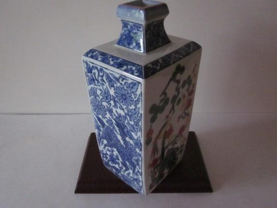 Japanese Vintage Square Vase Hand Painted Blue White Deer Etsy