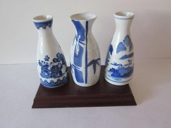 Japanese Vintage Sake Bottles Hand Painted Blue And White Etsy
