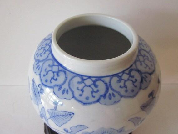 Chinese Blue White Ginger Jar Qianlong Nian Zhi Hand Painted Etsy