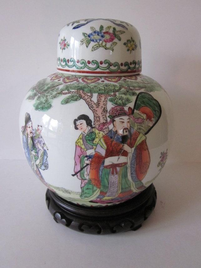 Chinese Ginger Porcelain Jar 3 Wizemen Hand Pinted Da Qing Etsy