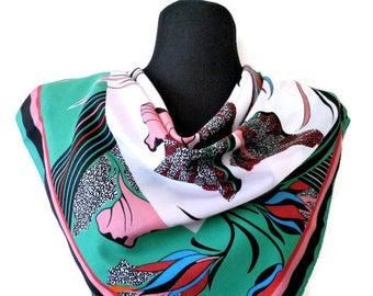Vintage NORMA DORI Italian Abstract Floral Ladies Scarf, Spring Colours Scarf, Colorful Scarf, Scarf with Flowers, Womens Gift, 30''/76cm