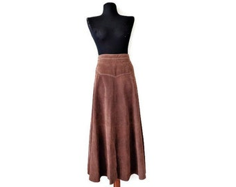 2e29f6e349 Vintage Brown Suede Skirt, Genuine Leather Midi Skirt with Slits, Size M