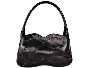 07af21751fd4 Vintage ESCADA Black Leather Handbag, Shoulder Hobo Bag, Purse, Made in  Italy