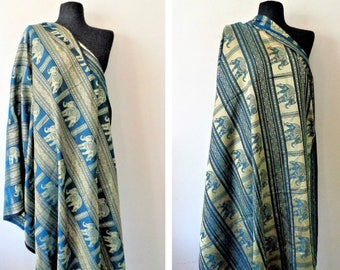 Large Scarf with Elephants, Wrap with Elephants, Double Sided Wrap Scarf, Blue Gold Wrap Scarf, Exotic Scarf
