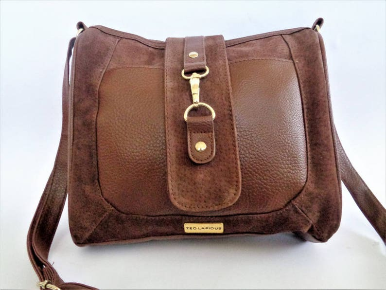 8463c547af51 Brown Shoulder Bag, TED LAPIDUS Bag, Leather Messenger Bag, Brown Handbag,  French Designer Soulder Bag, Brown Casual Bag, Leather and PVC