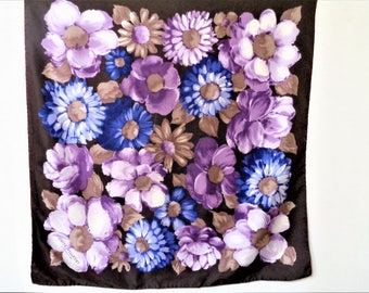 Vinatge Silk Scarf, Purple Silk Scarf, Violet Flowers Scarf, Lilac Silk Scarf, Guite Villedey Scarf, Designer French Scarf