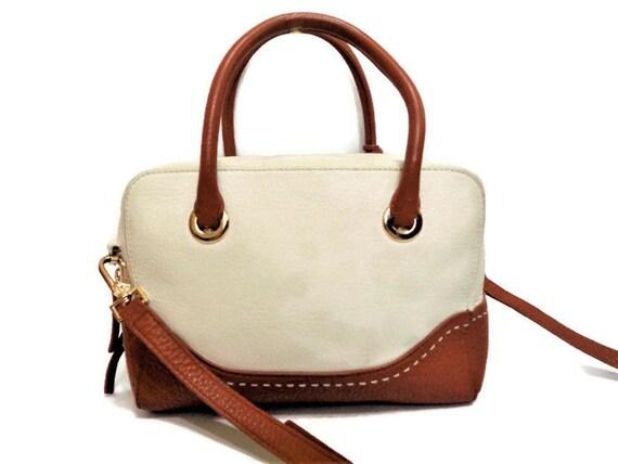 c420bbf7c298 Vintage Kate Spade Handbag White Brown Cow Leather Shoulder