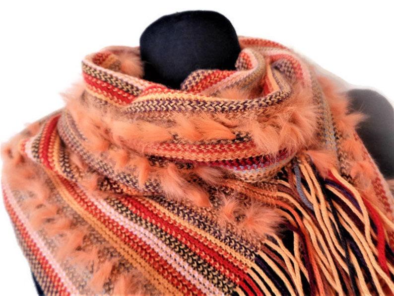 512496e5a85cc8 Codello Long Womens Peach Color Scarf Rabbit Fur Decoration | Etsy